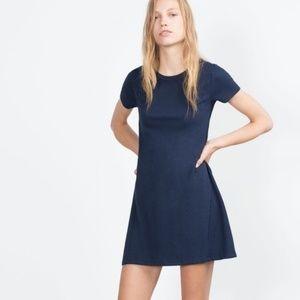 Zara Trafaluc Navy Blue T Shirt Dress